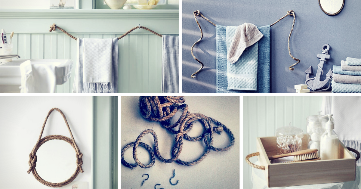 Diy rope bathroom decor ideas homelovr homelovr - Diy bathroom decor ideas ...