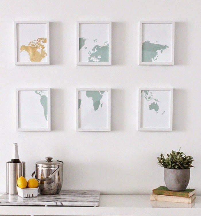 Gold Leaf Map Wall Art