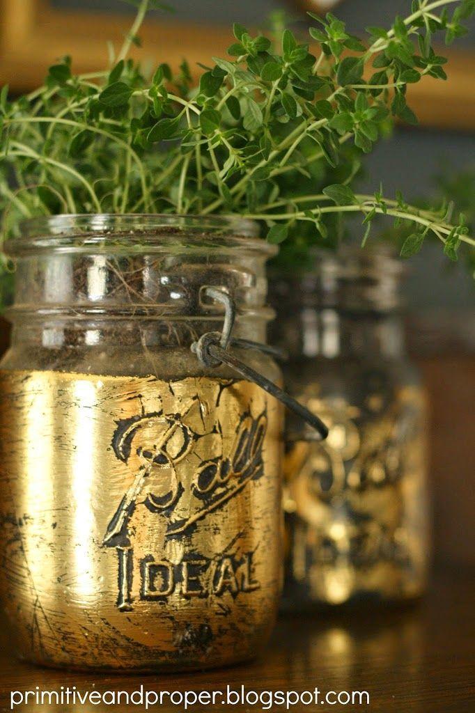 gold leaf mason jar planter