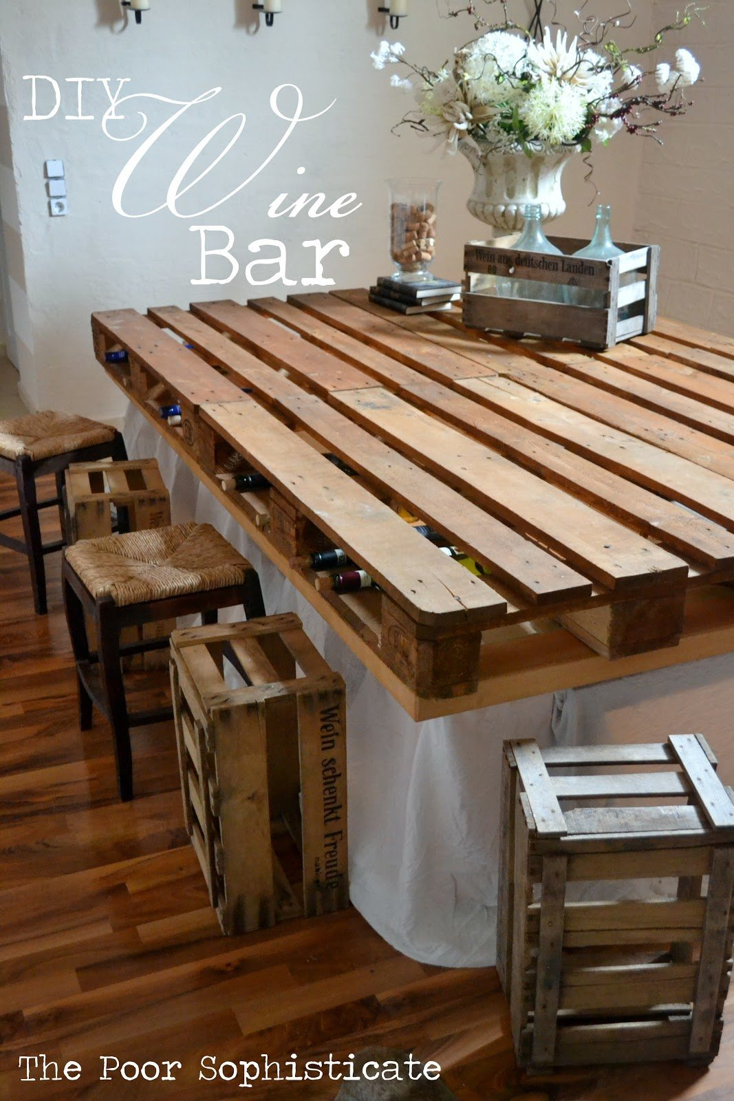 diy pallet  wine bar header