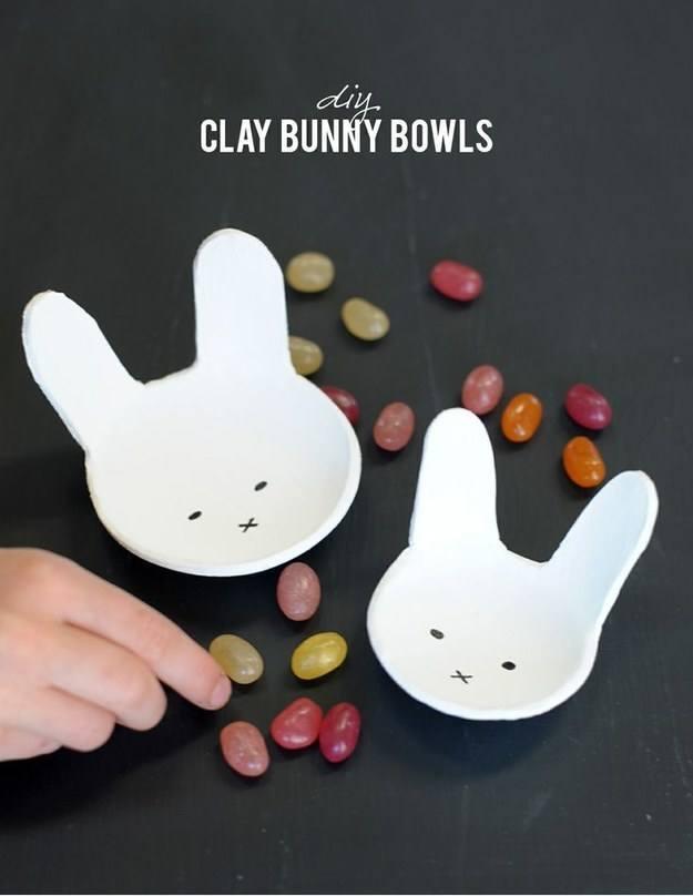 clay bunny bowls