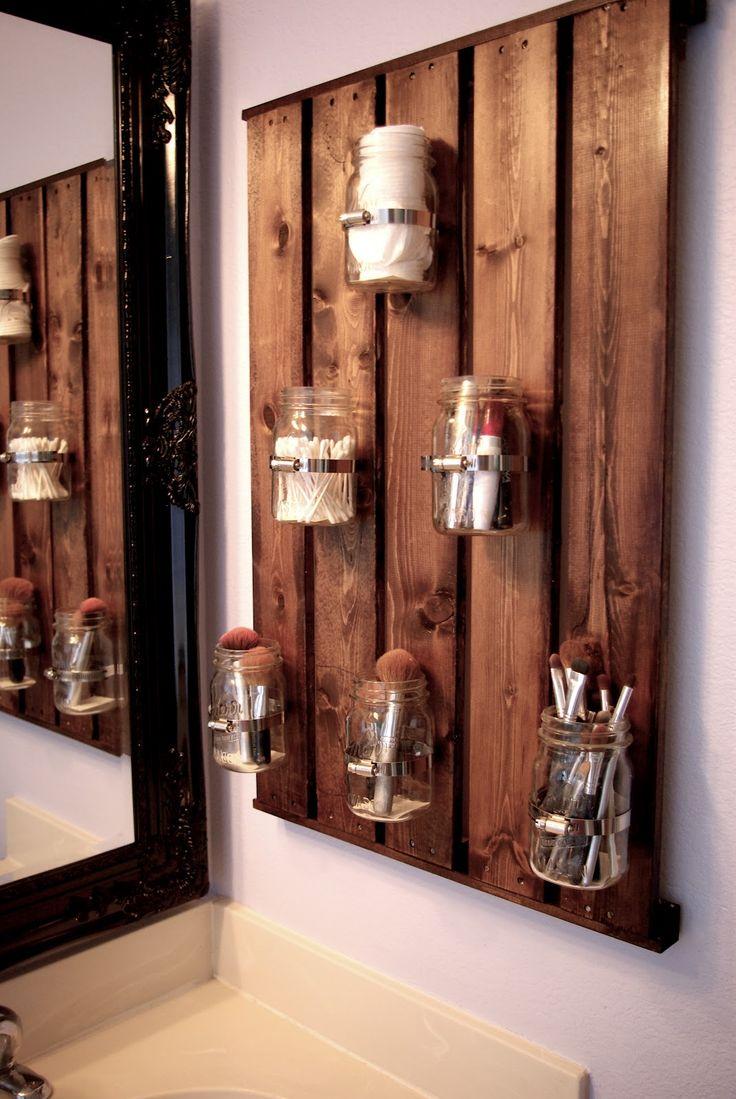 DIY ball jar storage in the bathroom