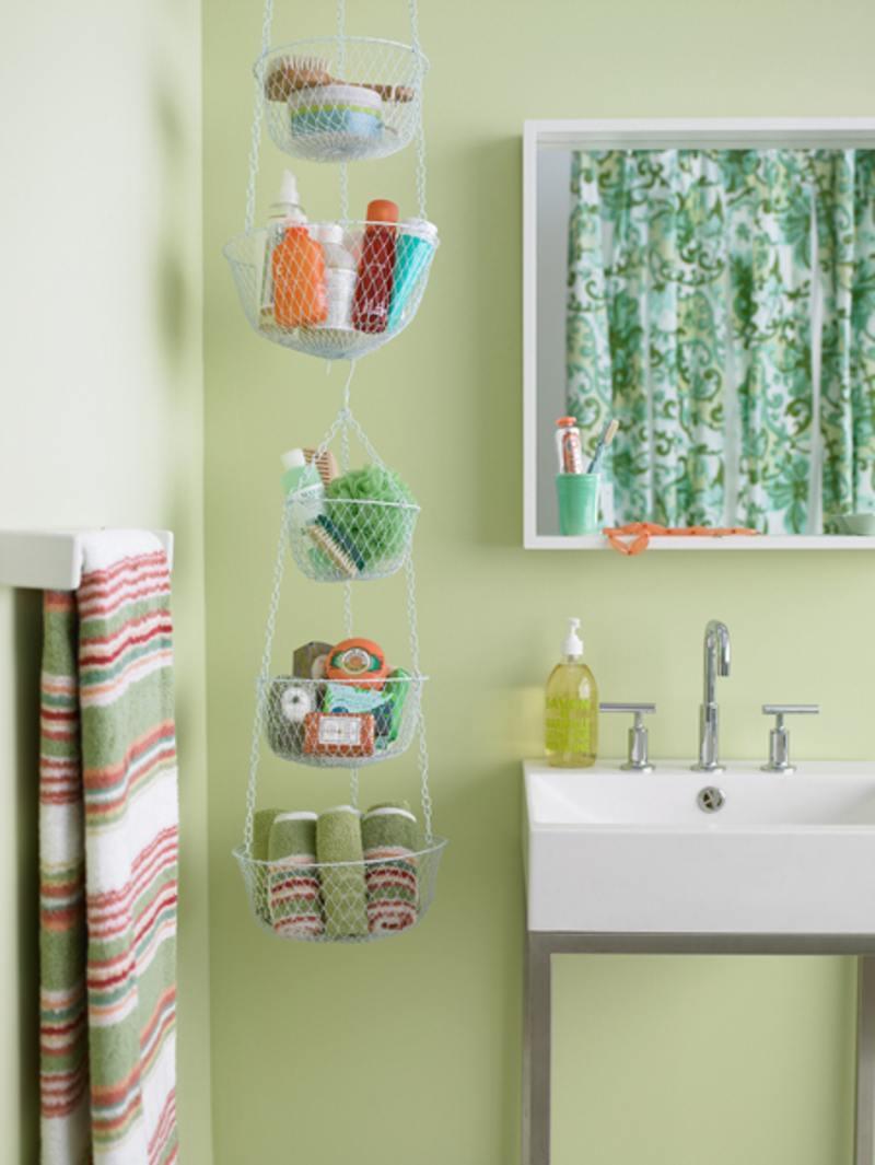 Hanging basket bathroom storage