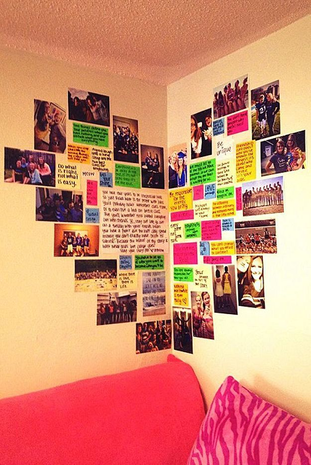 Heart Photo Wall. 23 Cute Teen Room Decor Ideas for Girls   Homelovr