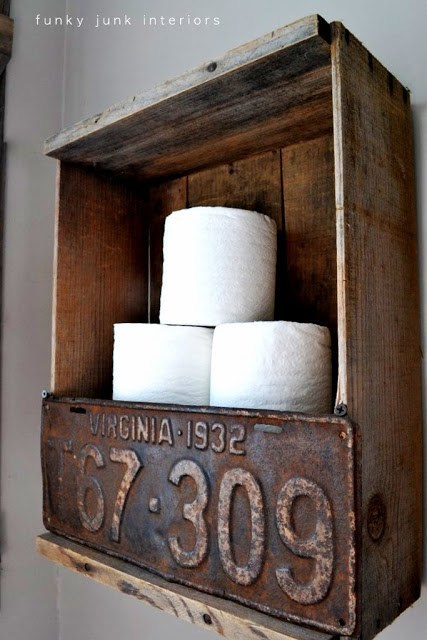 Rustic Crate and License Plate Toilet Paper Holder