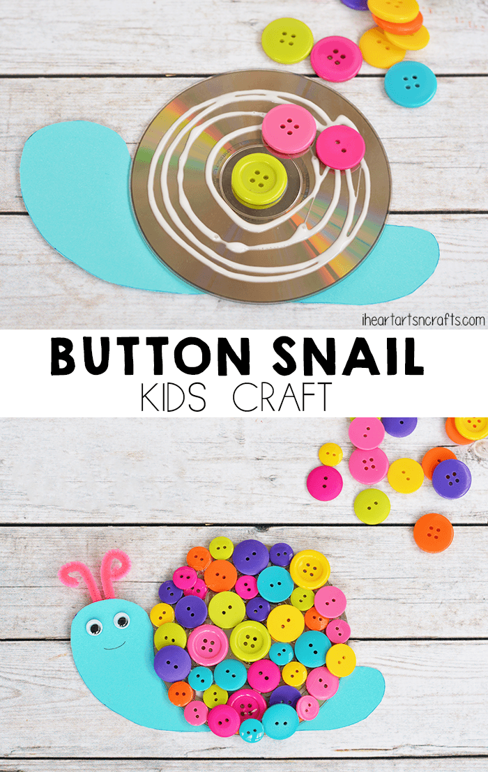 Colorful Button Snail Craft For Kids