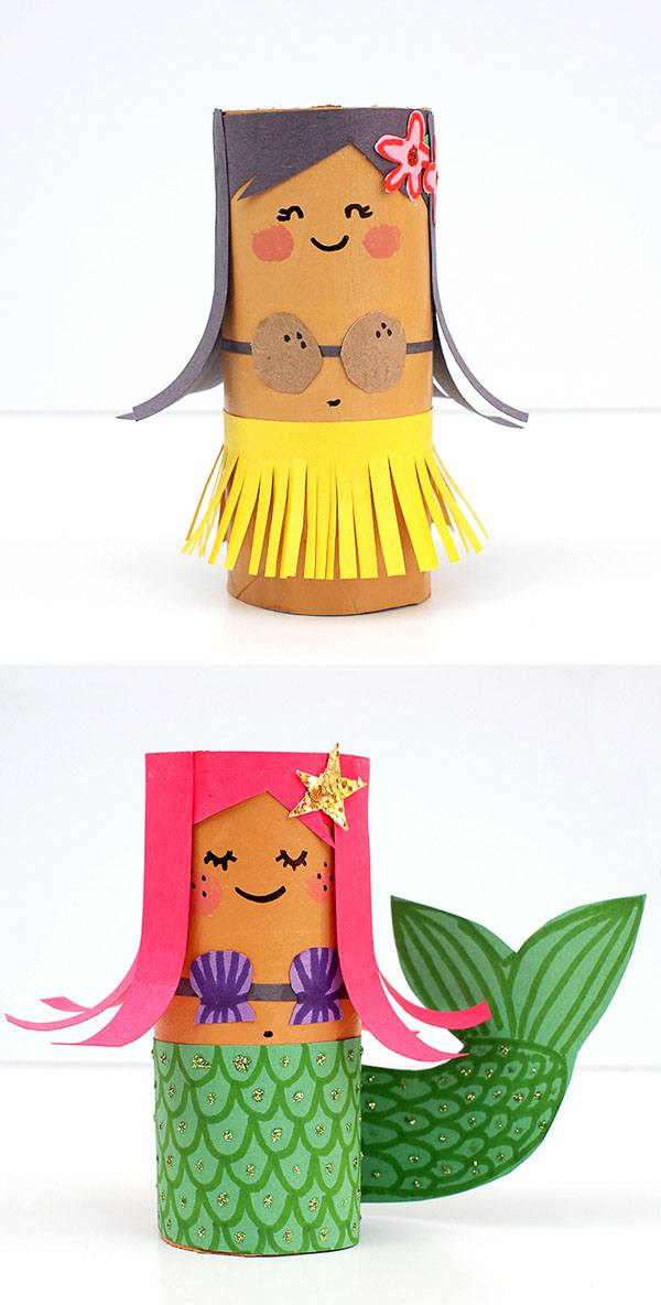 Toilet Roll Crafts Hula Girl And Mermaid