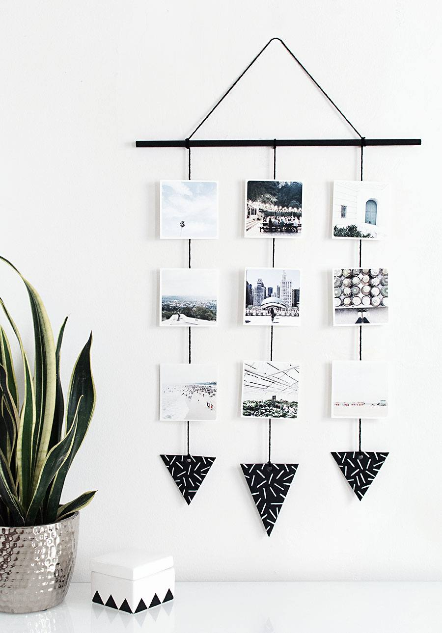 DIY Photo Wall Hanging with Triangles