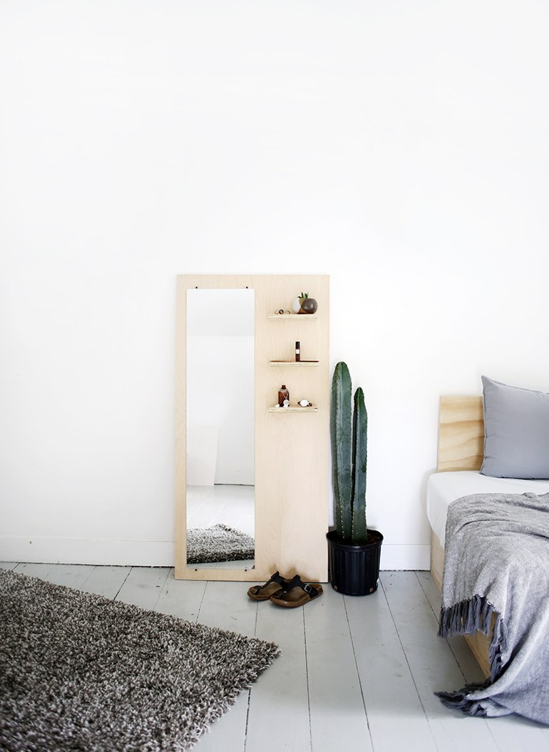 DIY Plywood Floor Mirror