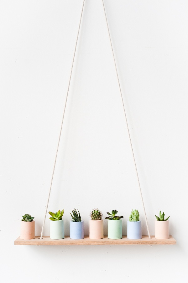 Pastel mini planters on simple DIY shelf