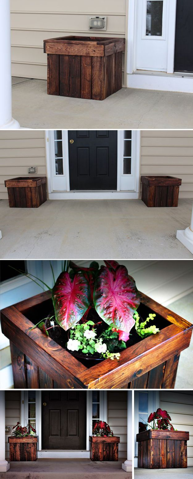 Stained Pallet Planter Box