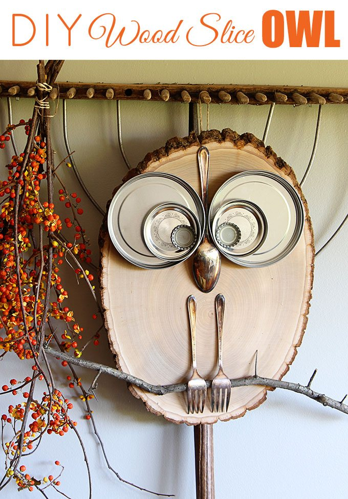 diy fall wood owl slice crafts easy craft homelovr houseofhawthornes via