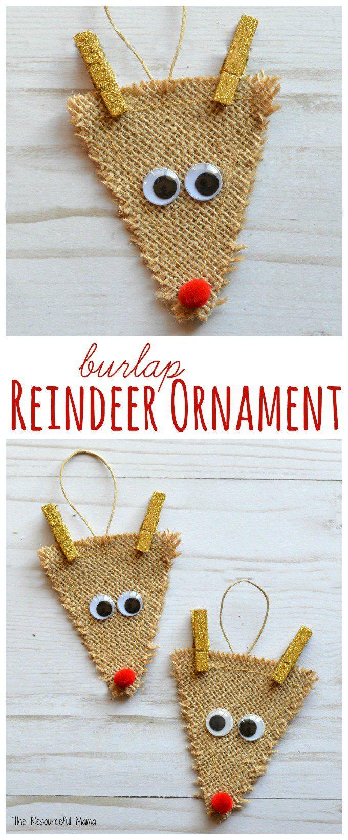 Burlap Reindeer Ornaments