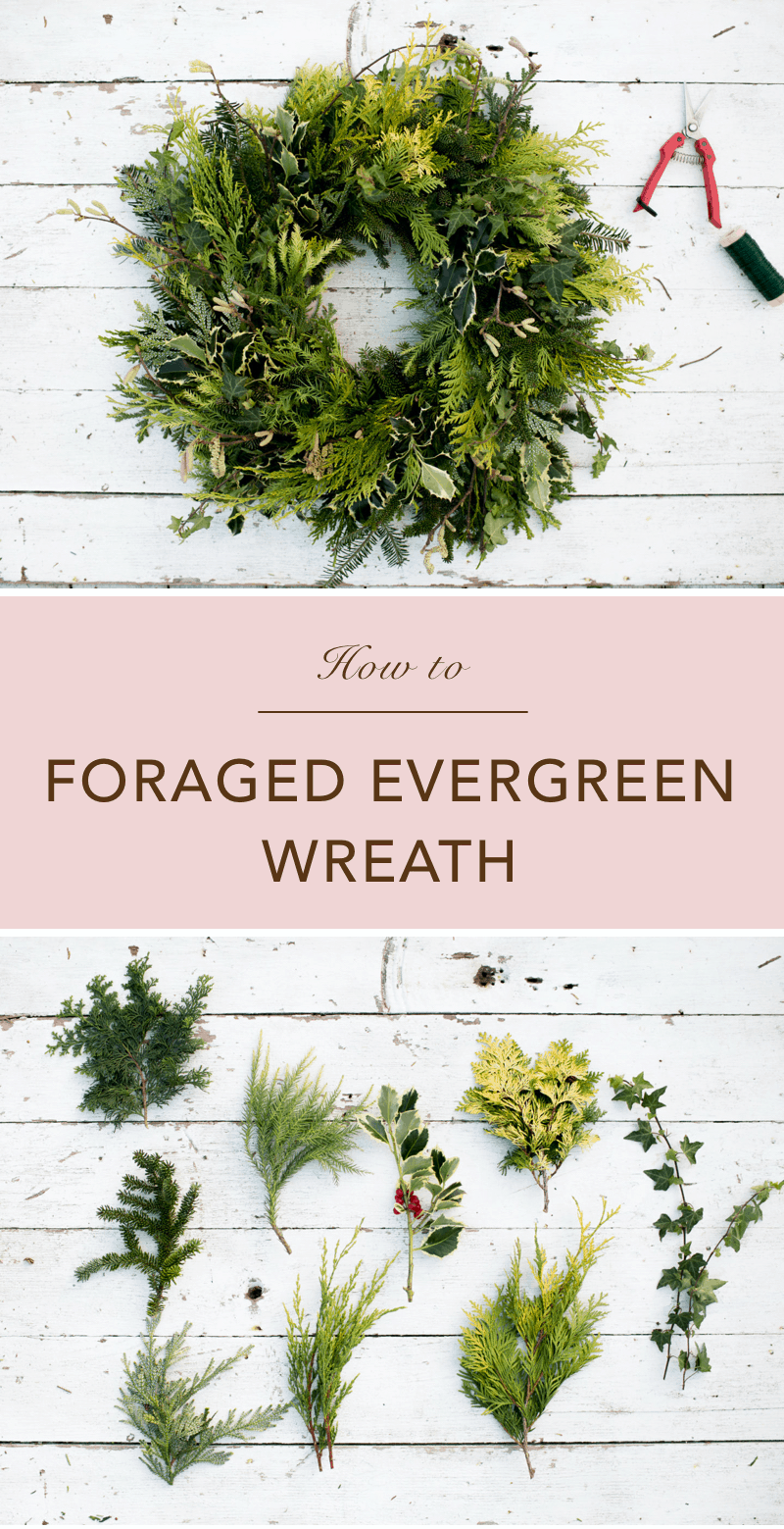 Foraged Evergreen Christmas Wreath DIY