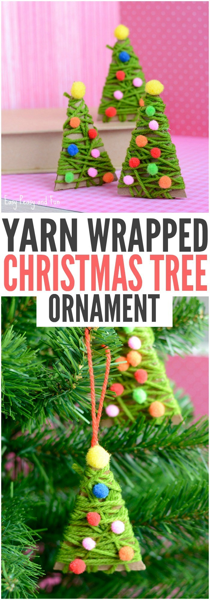 Yarn Wrapped Christmas Tree Ornaments