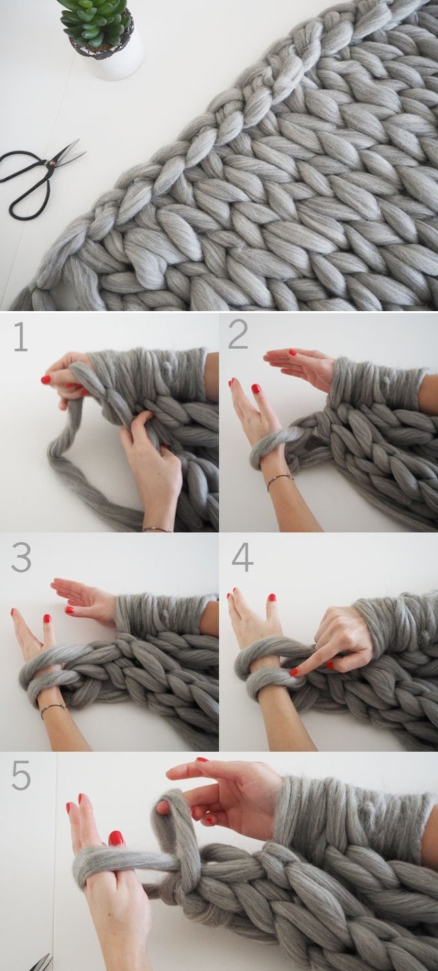 DIY - Knit a chunky blanket from wool roving