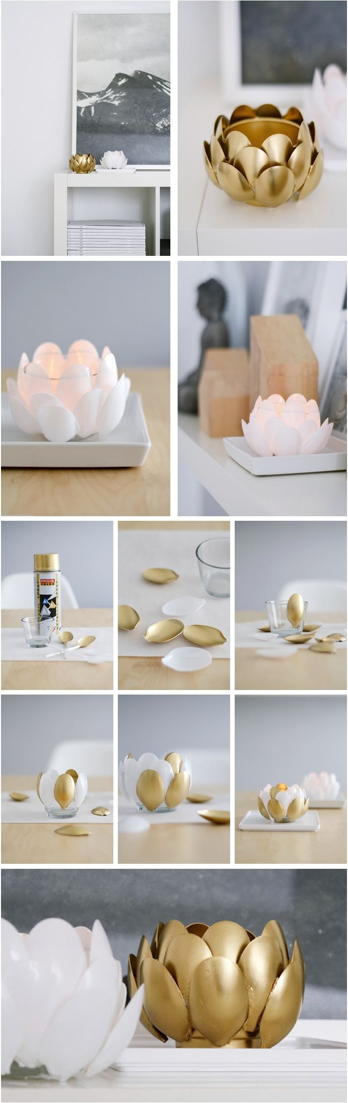 DIY Water Lilies - plastic spoon candle holder