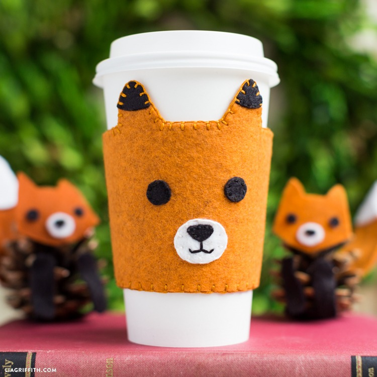 Hand-Stitched Felt Fox Coffee Sleeves
