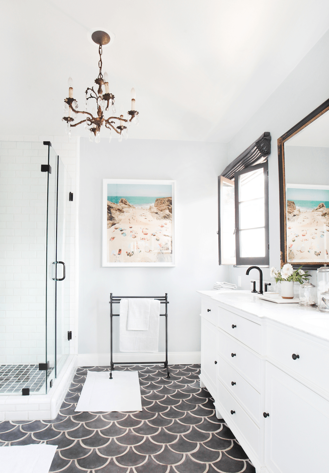 Fish Scale Tiles in White Bathroom