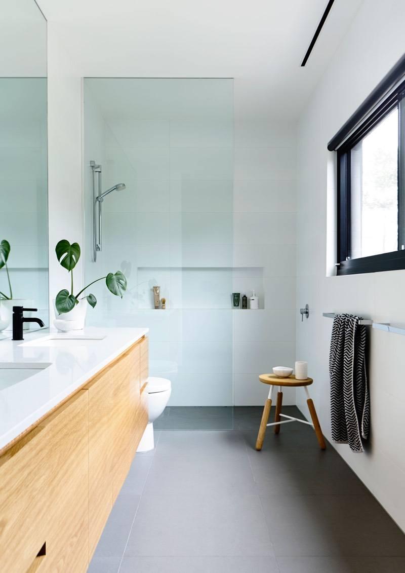 Bathroom Floor Tile with Grey Walls