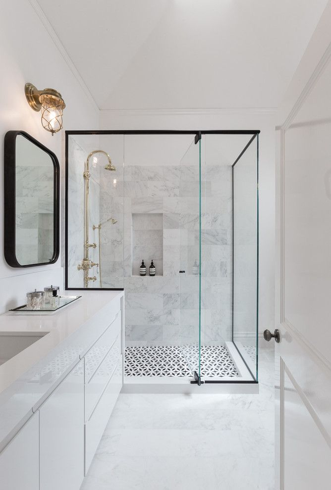 Modern Bathroom with Black Frame Shower
