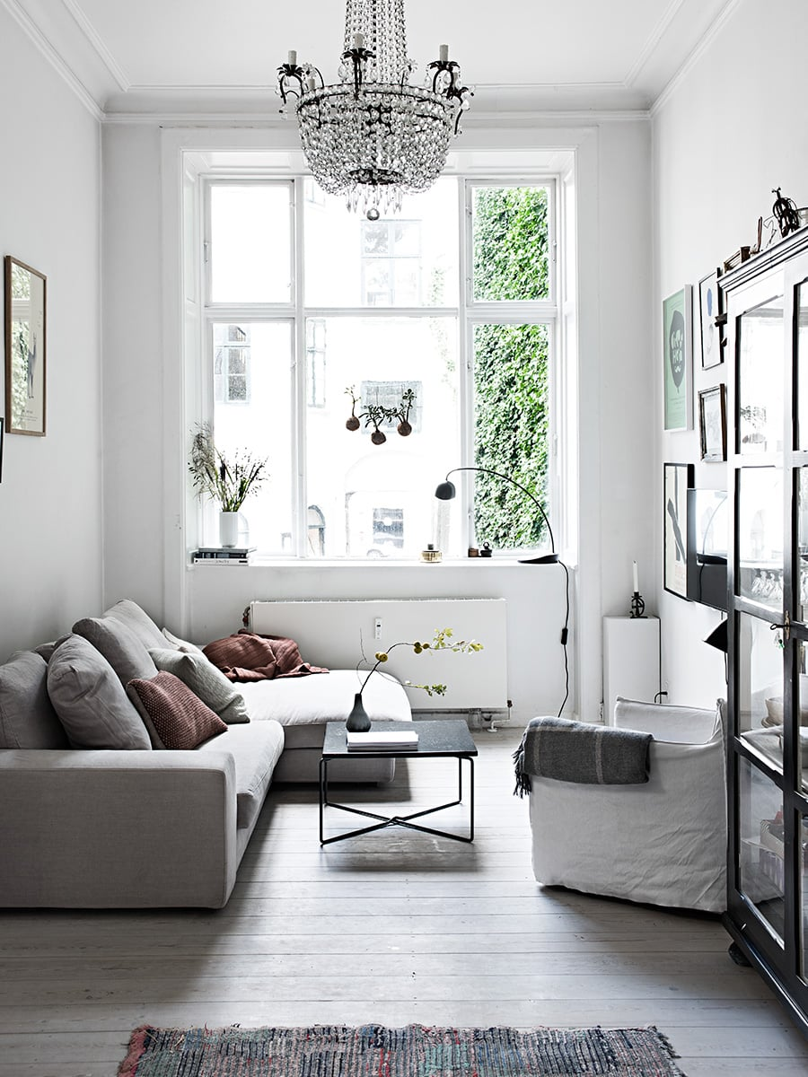 Scandinavian Inspired Living Room In Light Grey And White