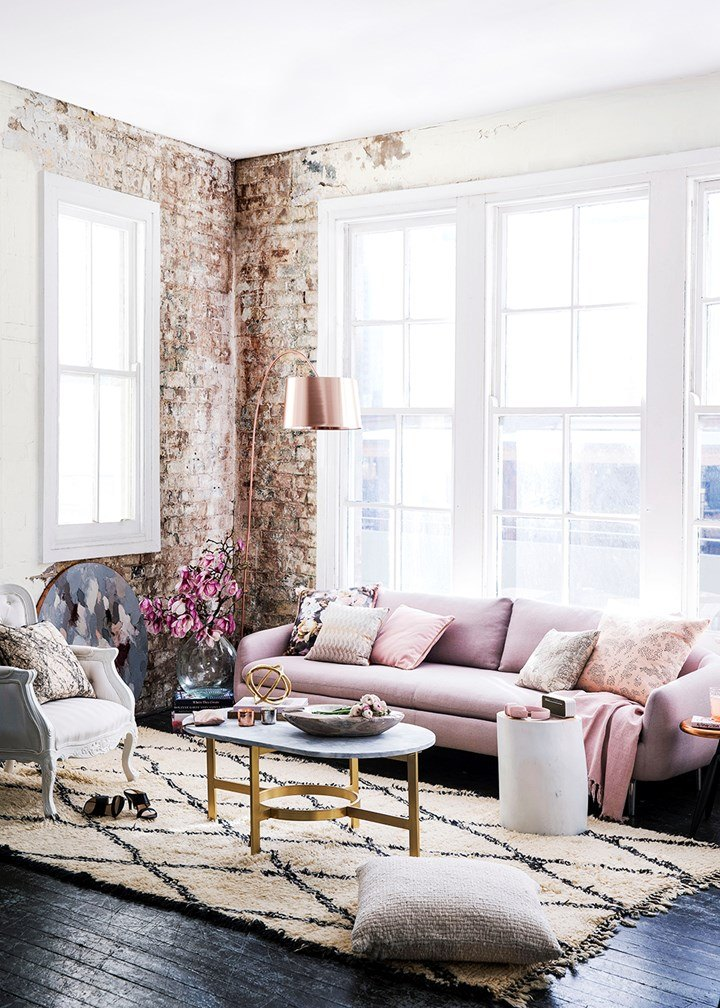 Beautiful Industrial Living Room with Rose Gold and Serenity Details