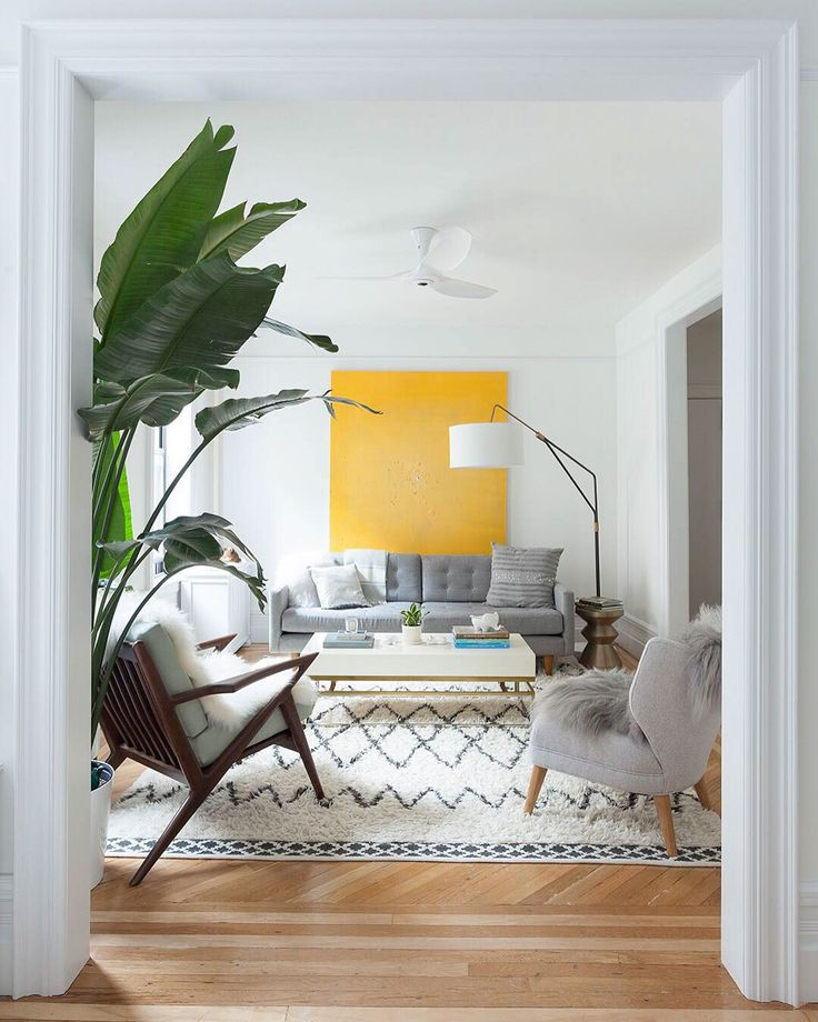 Bright Yellow Art Spot in a Gray and White Space