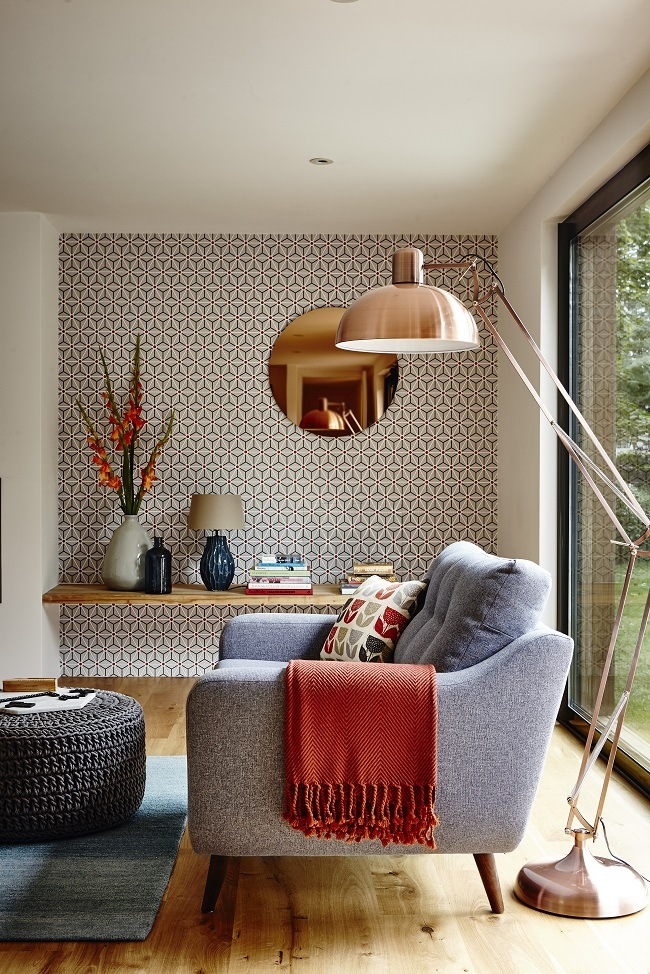 Geometric Wallpaper In A Living Room