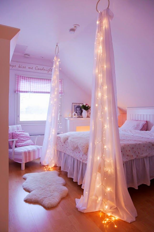 Canopy Bed With Hanging String Lights
