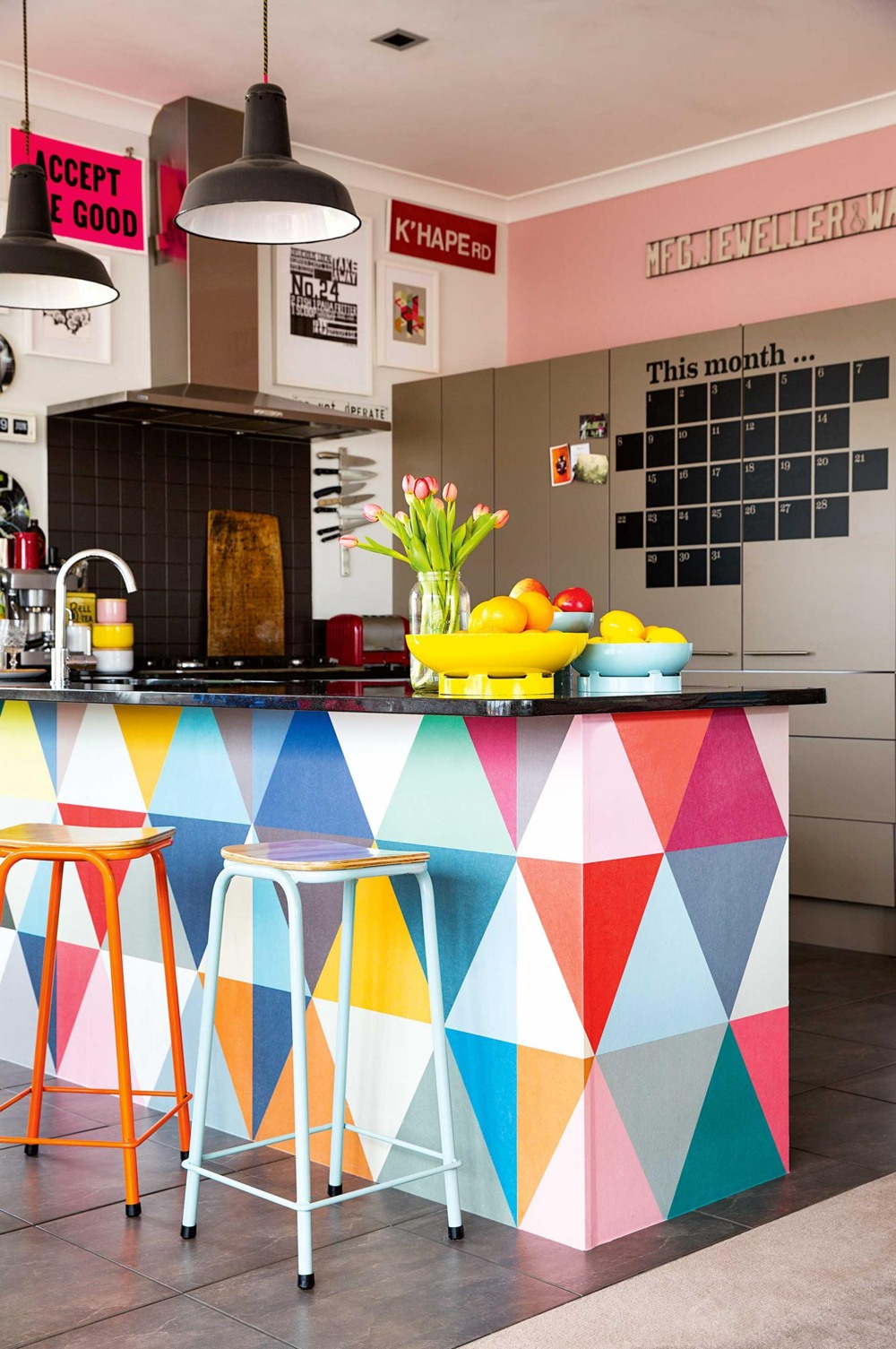 Colorful Kitchen Wall Paper Pints Island