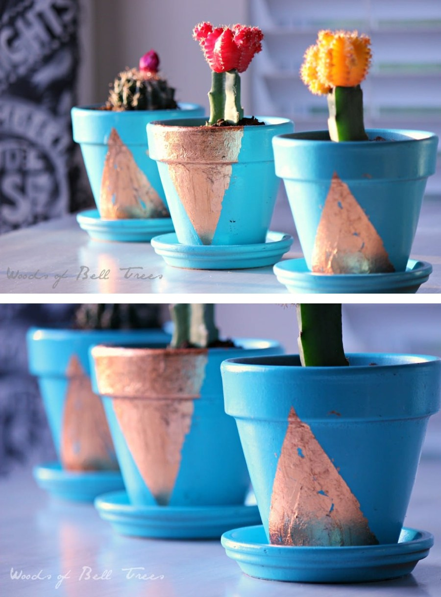 Copper Leaf Terra Cotta Planters