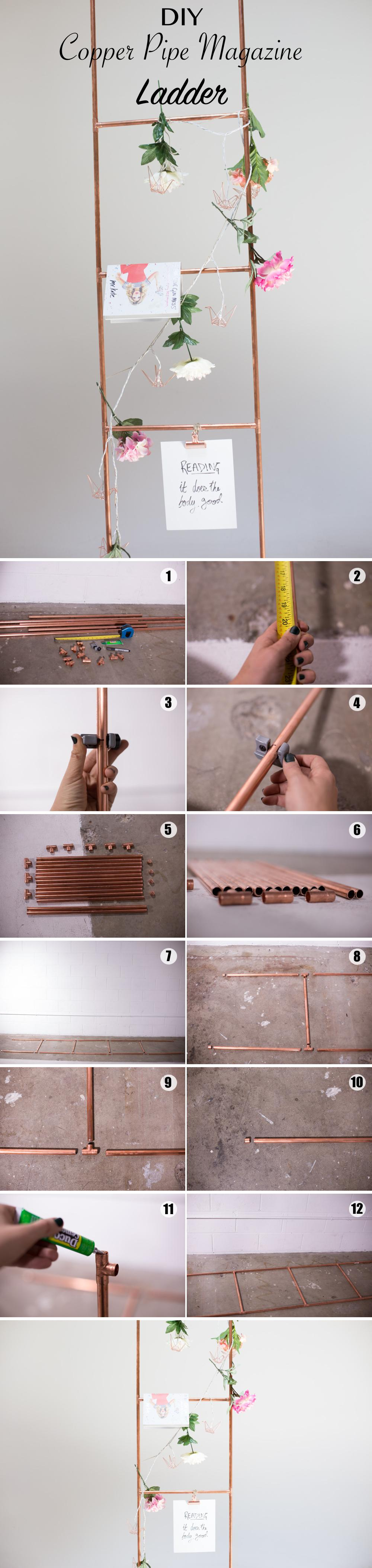 DIY Copper Pipe Magazine Ladder