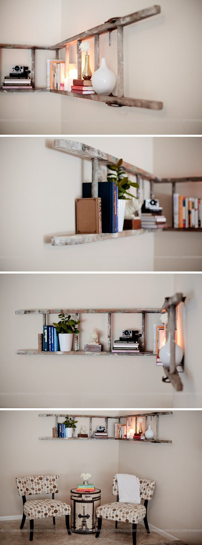 DIY Corner Ladder Bookshelf