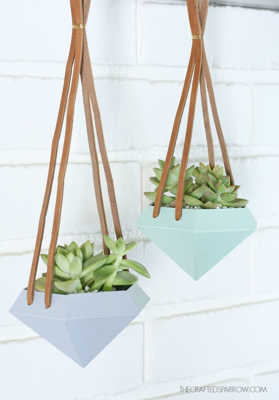 DIY Diamond Hanging Succulent Planters