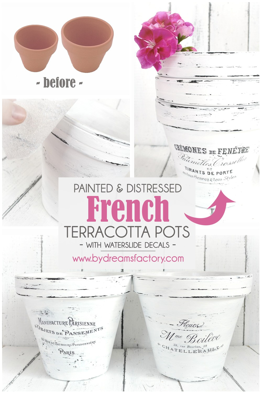 DIY Painted and distressed French Terracotta Pots