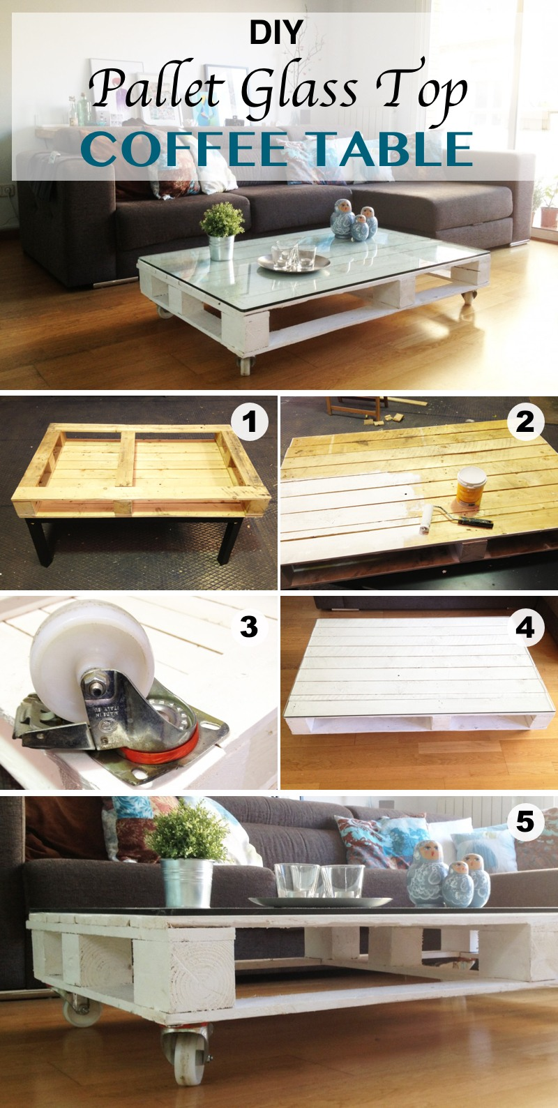 DIY Pallet Glass Top Coffee Table