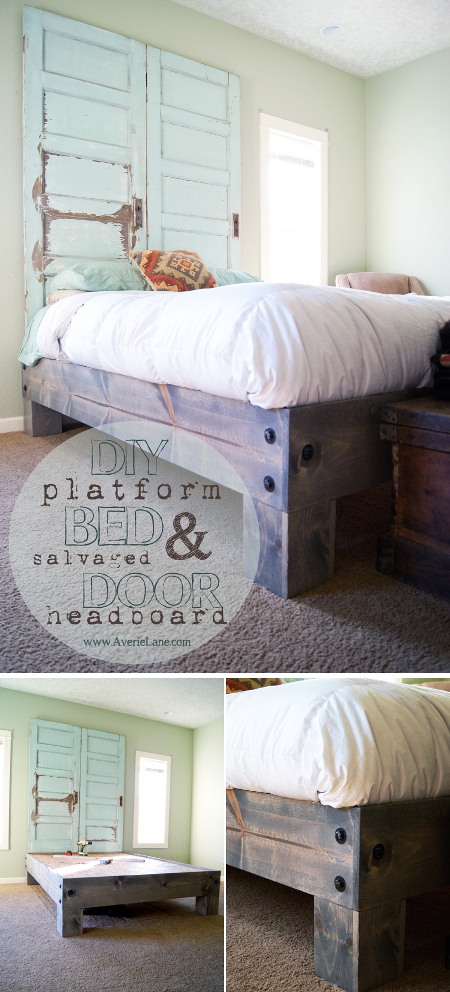DIY Platform Bed U0026 Salvaged Door Headboard