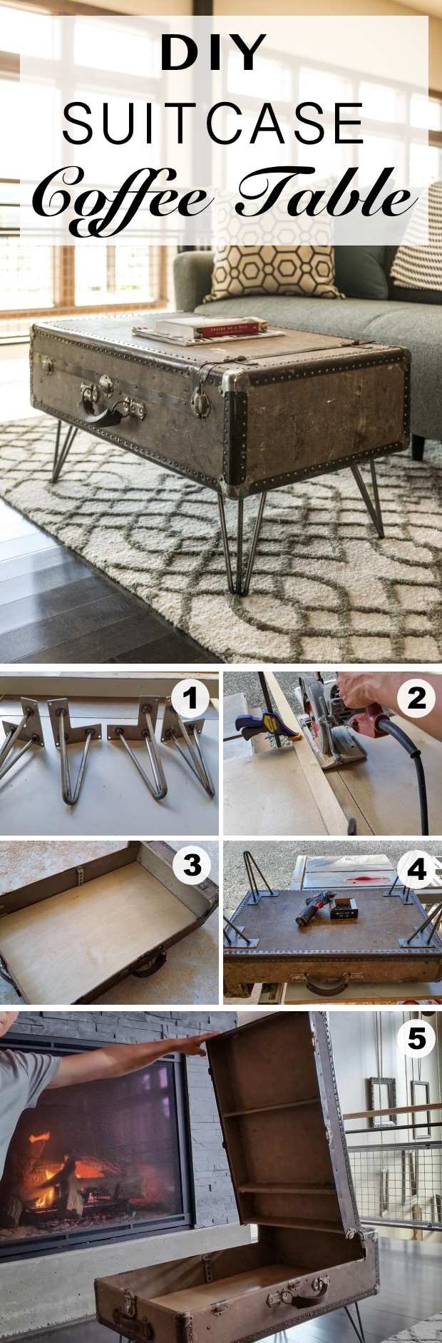 DIY Suitcase Coffee Table