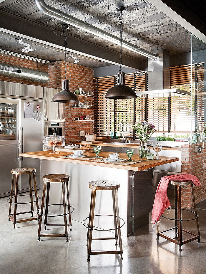 Lovely Exposed Brick Walls In The Industrial Kitchen