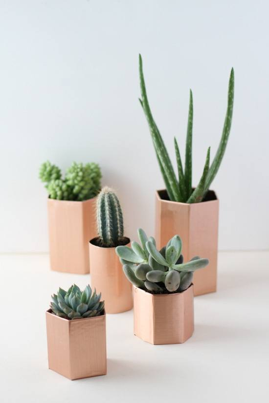 Faux Metal Hexagon Planters
