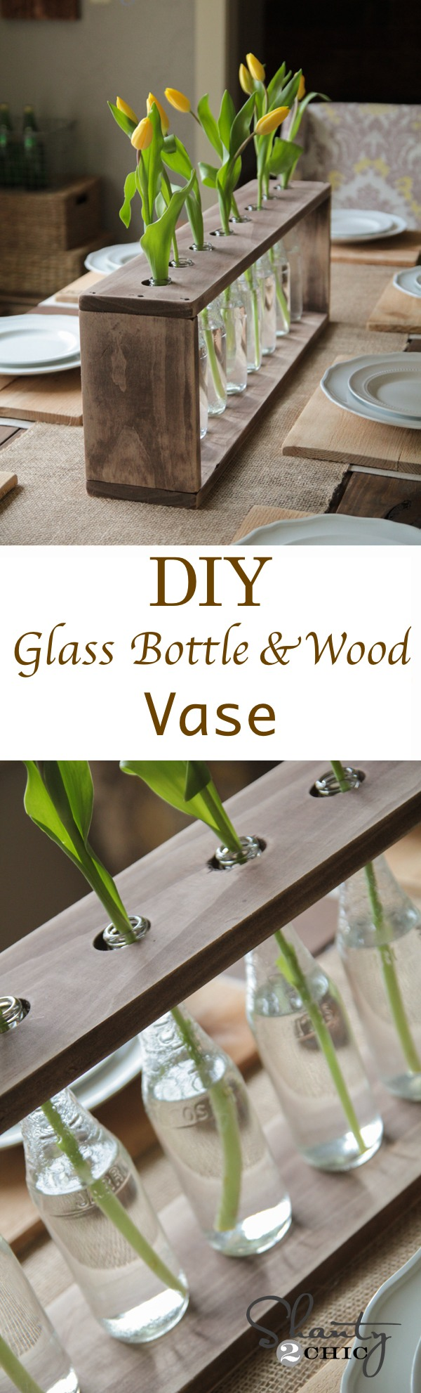 DIY Glass Bottle & Wood Vase