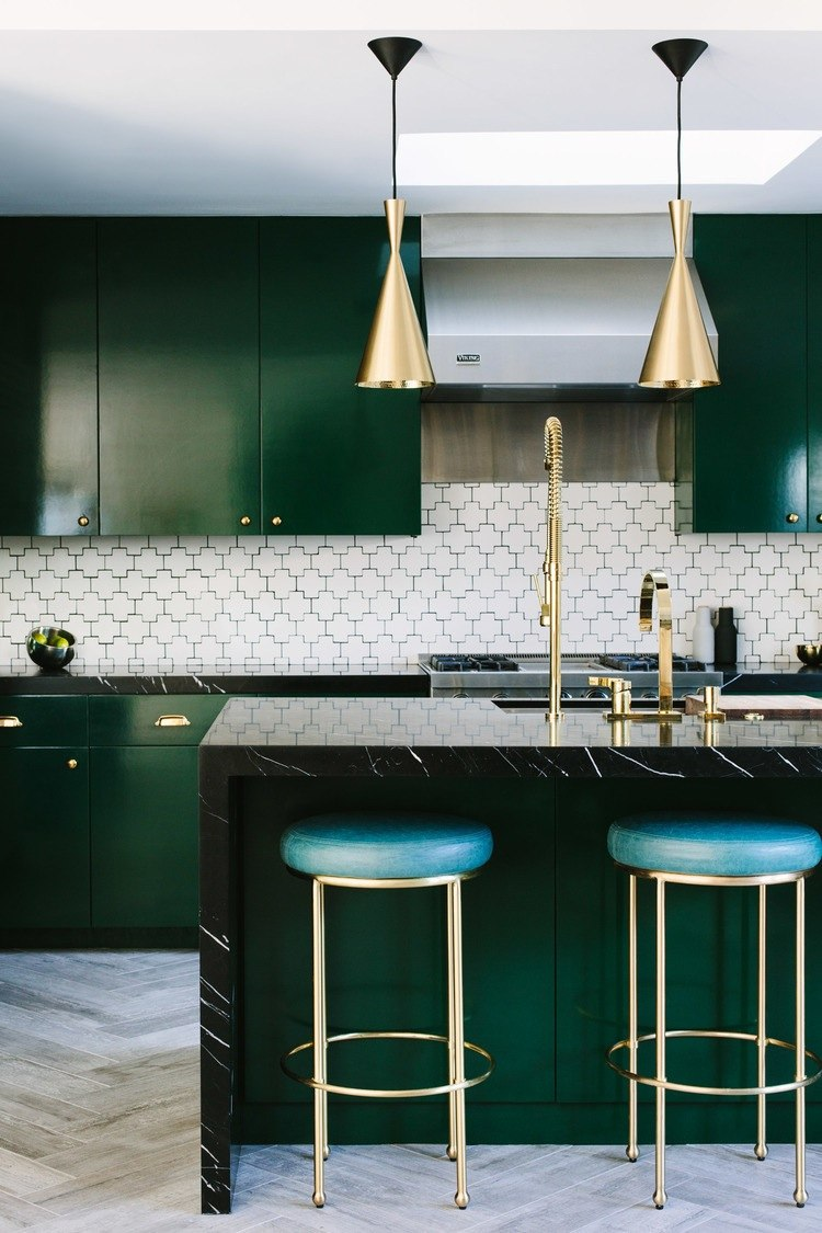 Green Cabinetry & Gold Accents