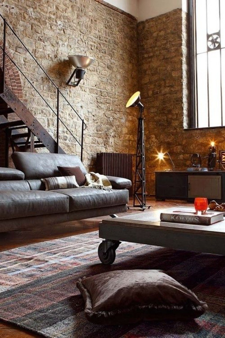 Industrial Style Living Room With Brick Wall Part 57