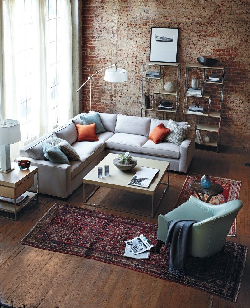 Living Room With Brick Wall And Small Rug Part 46
