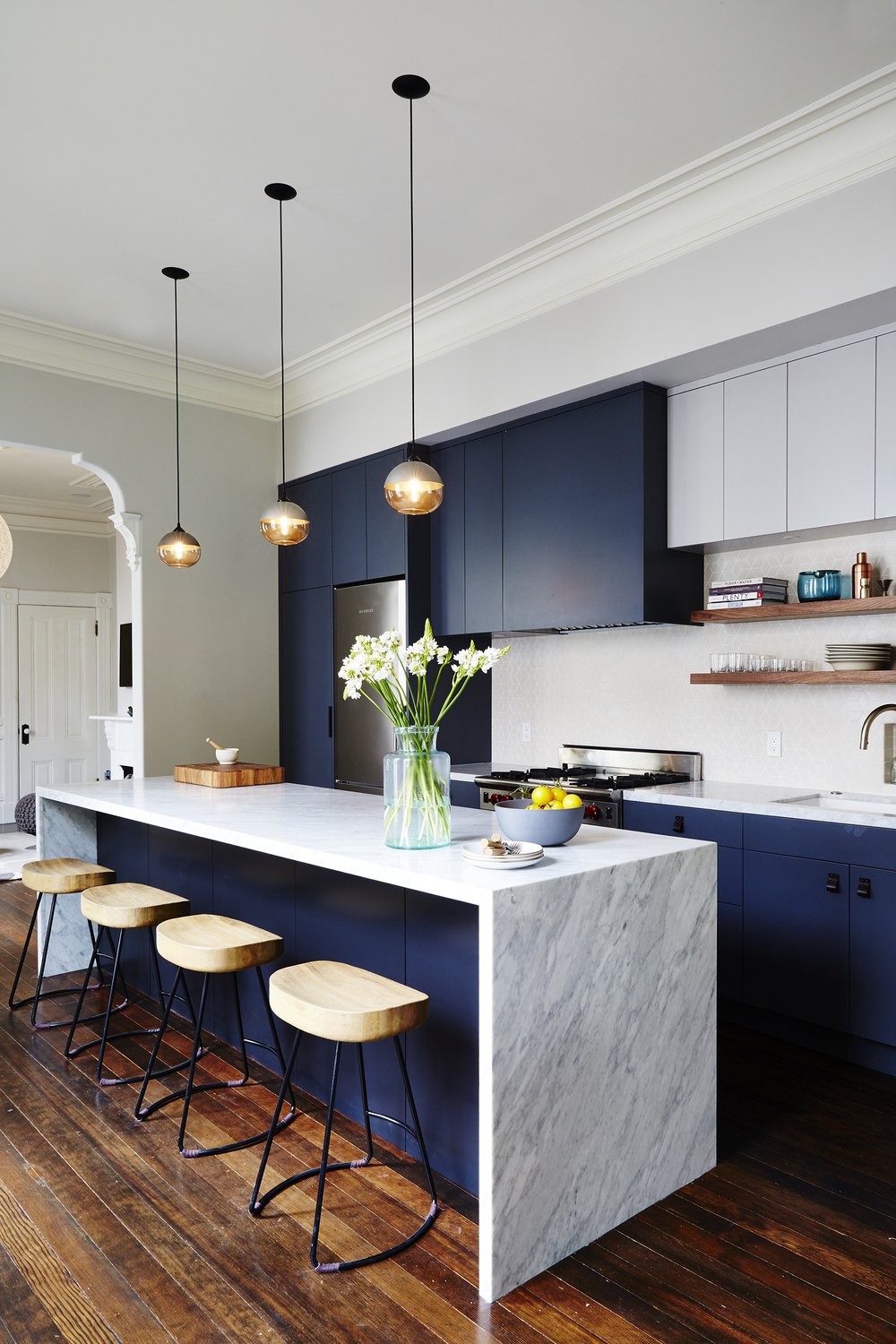 Navy and Marble Modern Kitchen