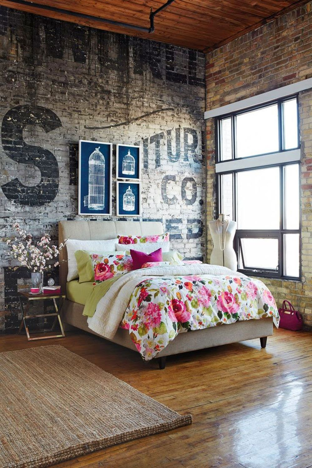 rustic bedroom with brick wall