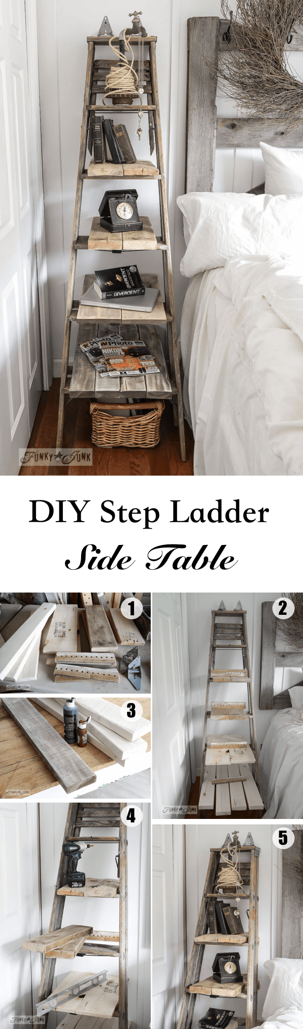 DIY Step Ladder Side Table