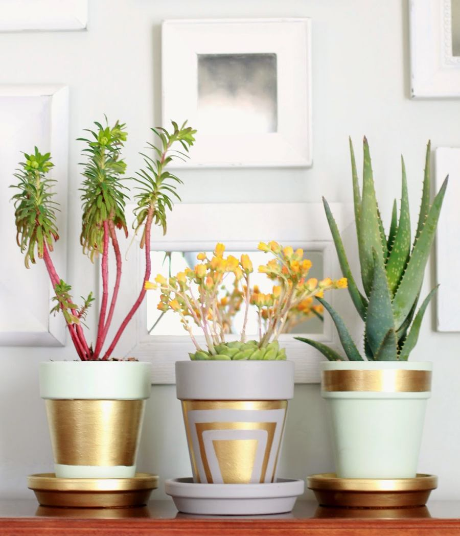 Stunning terra cotta pots with gold leafing.