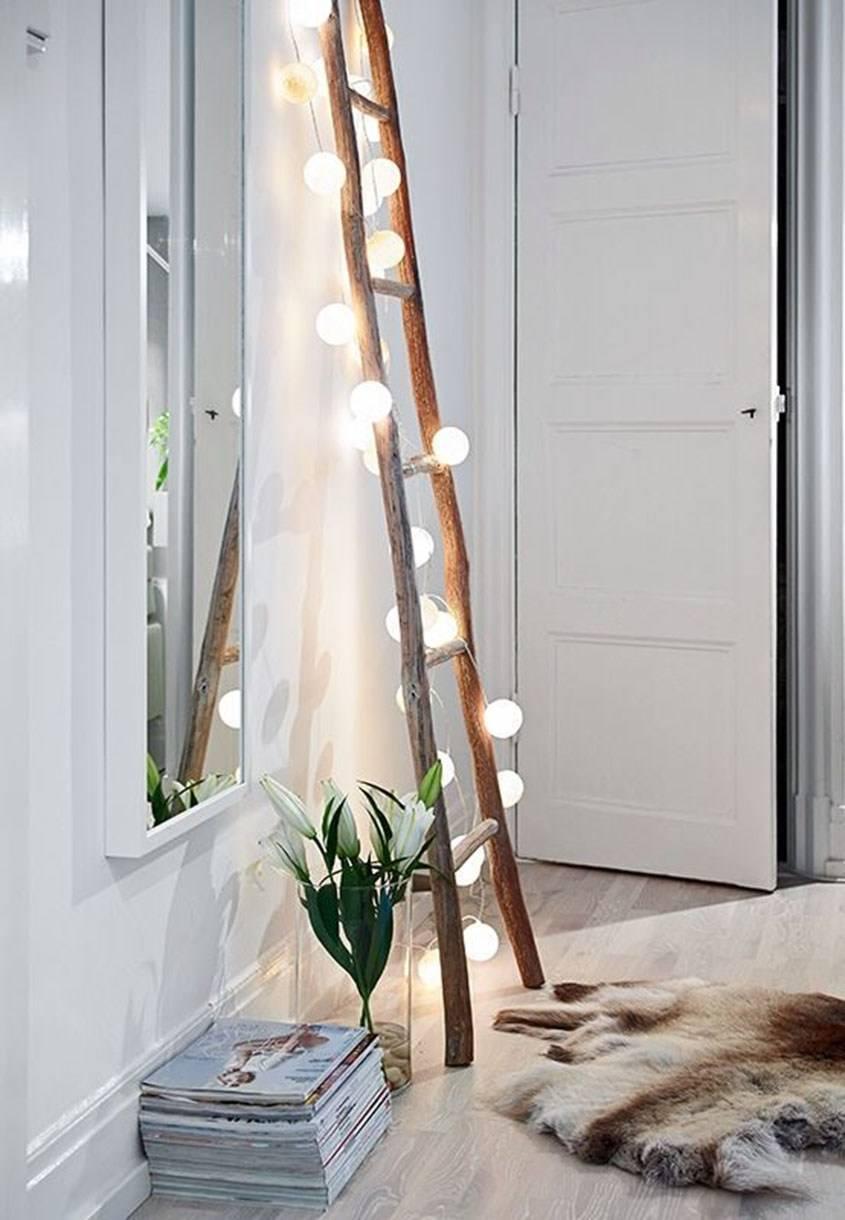 Vintage Ladder With String Lights